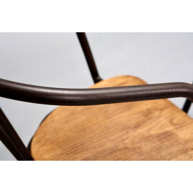 Metal Mid-Century Metal and Wood Armchairs - Set of 6 For Sale - Image 7 of 9