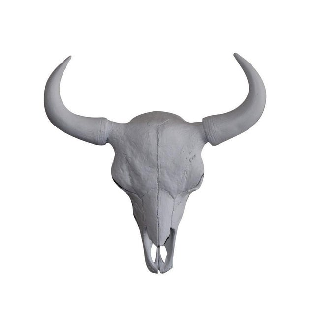 Boho Chic Large Yellowstone Skull Buffalo Bison Faux Taxidermy White Resin For Sale - Image 3 of 3