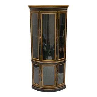 Drexel Black & Gold Chinoiserie Painted Corner Curio Cabinet For Sale