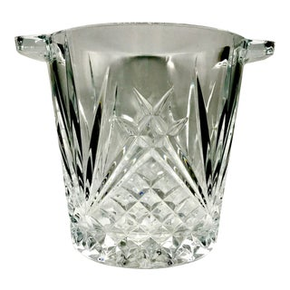 1980s Art Nouveau Heavy Lead Cut Crystal Ice or Champagne Bucket For Sale