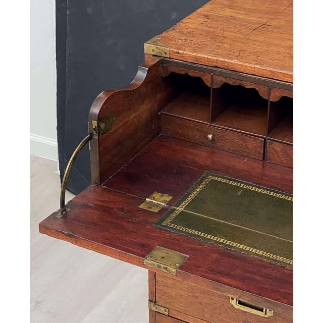 English Officer's Campaign Chest Secretaire of Teak and Brass For Sale In Austin - Image 6 of 13