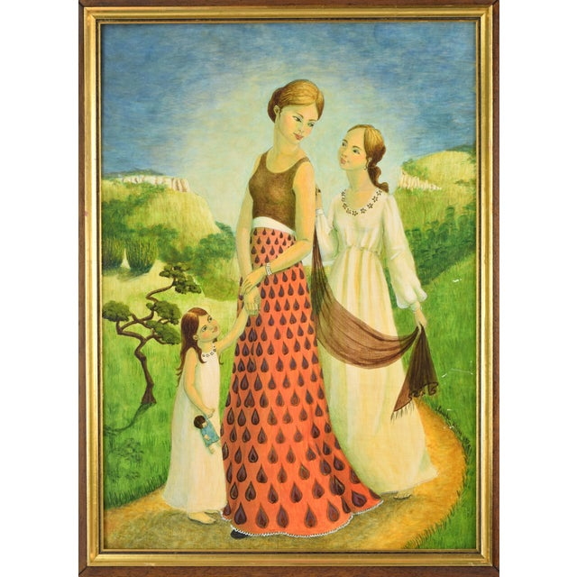 Folk Art Vintage Mother and Two Daughters on Garden Path Oil Painting For Sale - Image 3 of 9