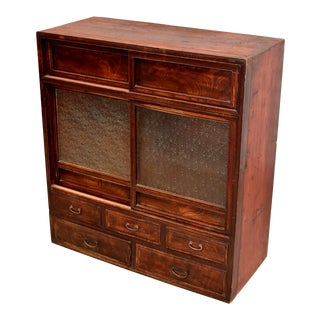 Early 20th Century Antique Vntage Meiji Japanese Tansu Cabinet For Sale