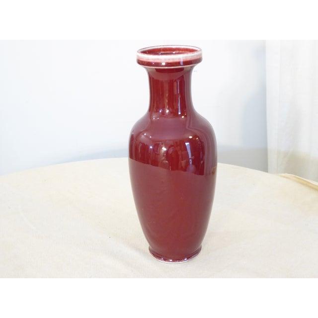 Vintage Chinese Ox Blood Porcelain Vase For Sale - Image 4 of 4