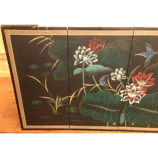 Vintage Mid Century Hummingbird & Lotus Chinese Painted Silk Byōbu Preview