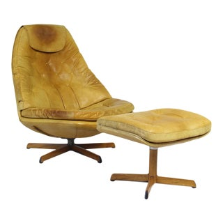 1960s Vintage Madsen & Schubell Leather Lounge Chair With Ottoman For Sale