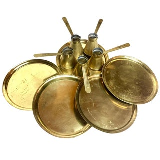 Antique Turkish Brass Coffee Service - 10 Pieces For Sale