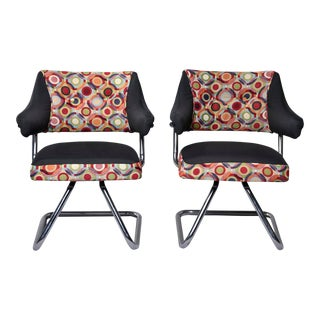 Pair Italian Mid Century Swivel Chairs With Chrome Base and Multicolor Fabric For Sale