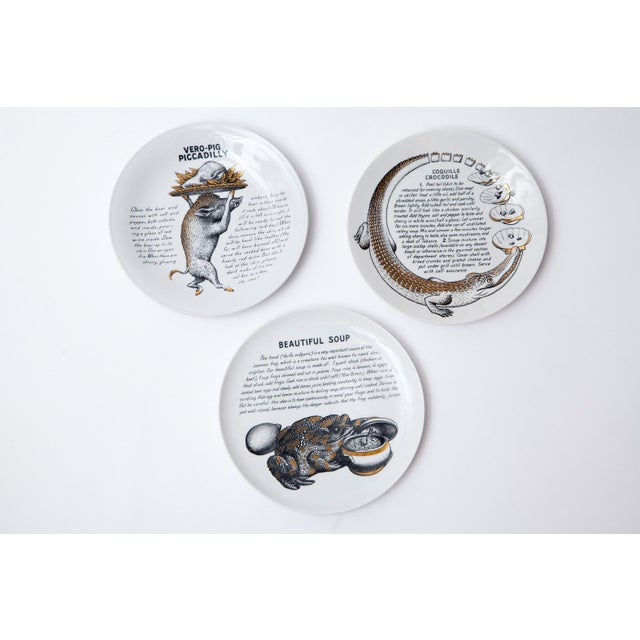 """Italian Rare Set of 12 """"Cook Plates"""" by Piero Fornasetti for Fleming Joffe Ltd For Sale - Image 3 of 8"""