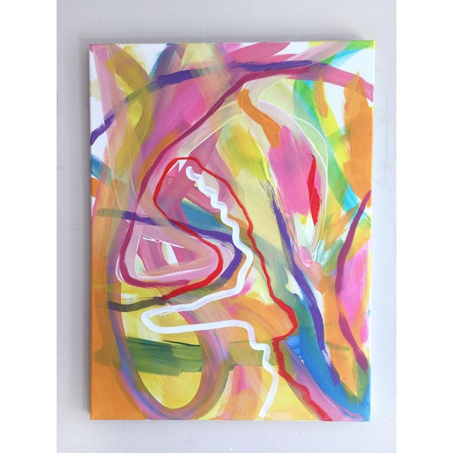 A bright expressive original painting by contemporary artist Jessalin Beutler completed in 2019. Acrylic on stretched...