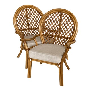 Vintage Vogue Rattan Balloon Back Side Chairs-A Pair For Sale