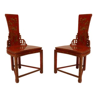Asian Chinese Red and Gilt Lacquered Side Chairs- A Pair For Sale