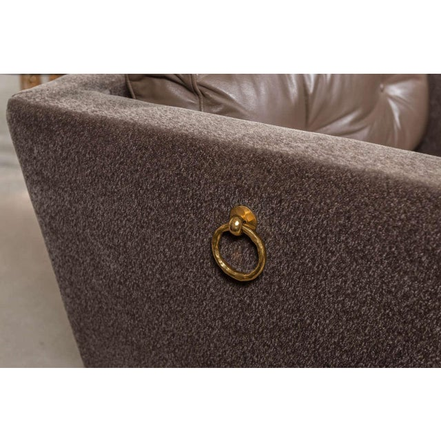 Contemporary Olivier Gagnere Pair of Mohair and Leather Lounge Chairs For Sale - Image 3 of 5