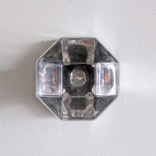 Wonderful chrome and glass wall or ceiling lights by Motoko Ishii for Staff Leuchten Germany, chrome plated metal &...