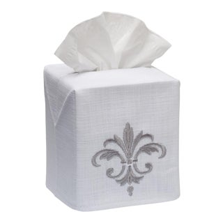 Pewter Fleur-De-France Tissue Box Cover in White Linen & Cotton, Embroidered For Sale