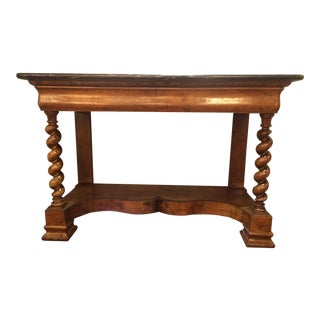 Louis Phillipe Walnut Console Table with Barley Twist Legs and Marble Top
