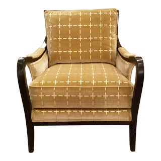 Ferguson Copeland Transitional Cut Velvet Golden Club Chair For Sale