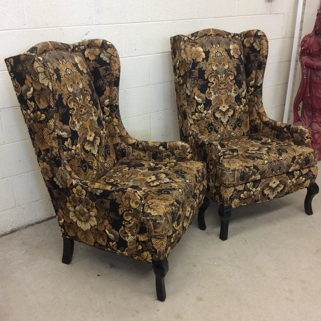 Hollywood Regency Black & Gold High Back Chairs - a Pair For Sale - Image 4 of 11