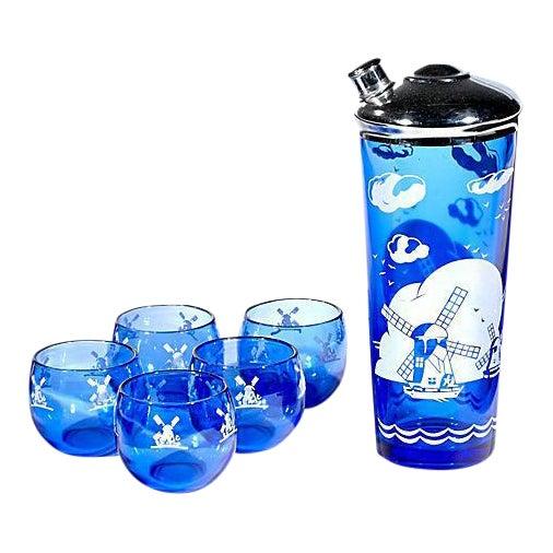 Cobalt Windmill Cocktail Set - Set of 6 For Sale