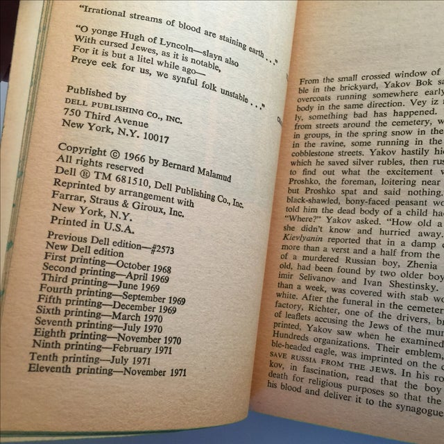 The Fixer by Bernard Malamud, 1971 For Sale - Image 5 of 5