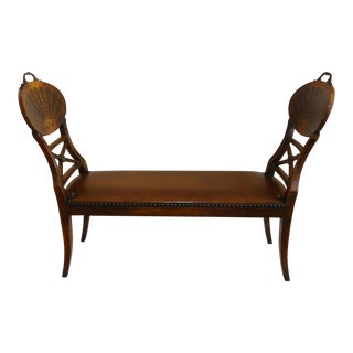 Regency Style Inlaid Wood and Leather High-Arm Bench For Sale