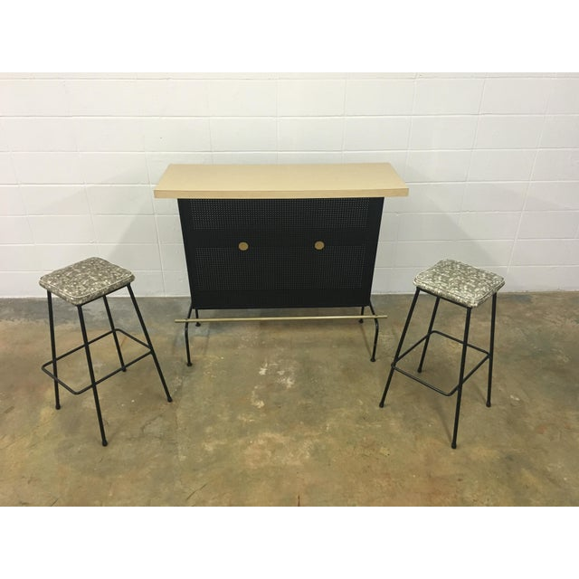 Atomic Vintage Bar With 2 Stools - Image 2 of 11