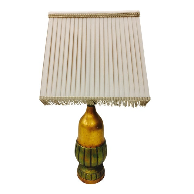 Vintage Gold Tone Table Lamp For Sale