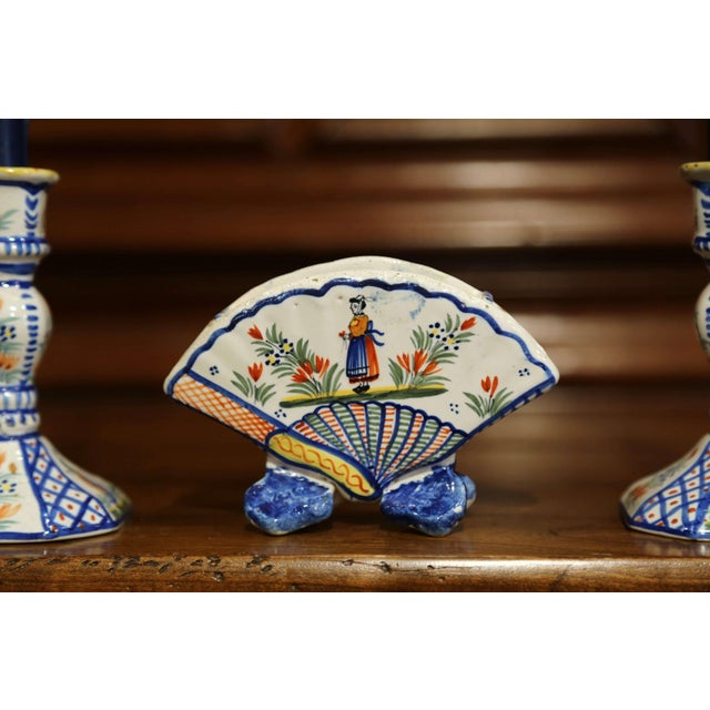 Henriot Quimper Mid-20th Century French Henriot Quimper Pair of Candlesicks With Matching Vase For Sale - Image 4 of 13