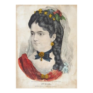 1872 Currier & Ives Lithograph Portrait Distressed For Sale