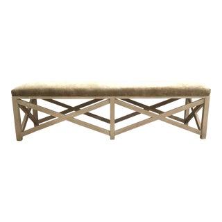 Jeffery Bilhuber for Henredon Modern Khaki Chenille and White Wood Edgecombe Road Bench For Sale