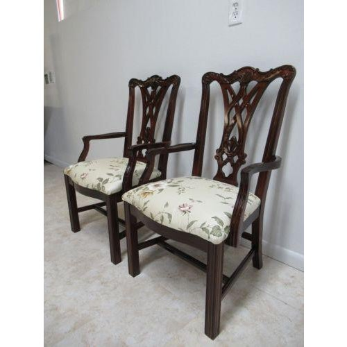 Chippendale Thomasville Solid Mahogany Chippendale Dining Arm Chairs - a Pair For Sale - Image 3 of 12