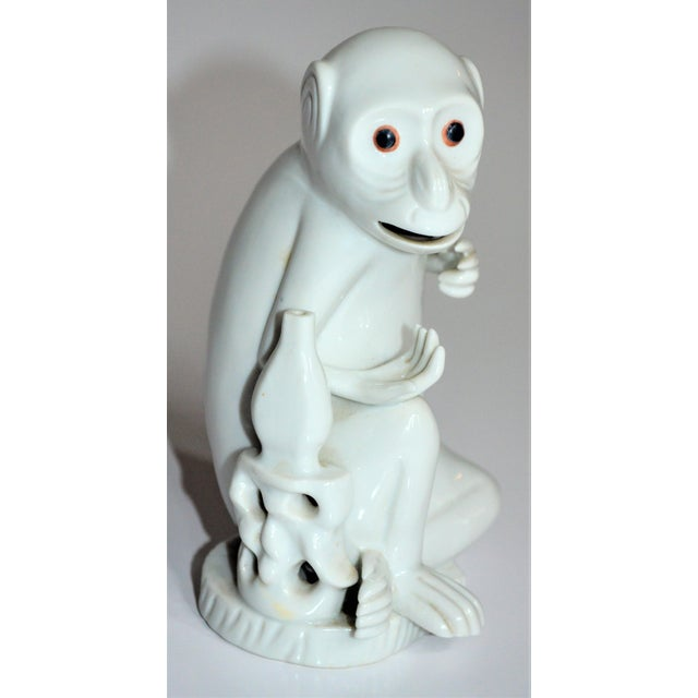 Mottahedeh Vintage Italian White Porcelain Monkey Figurine For Sale - Image 4 of 10