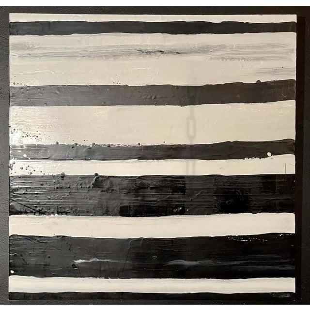 """Modern Lynn Basa Encaustic Black and White Stripe Panel """"Doppleganger"""" 2013 For Sale - Image 3 of 12"""
