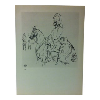 """Circa 1980 """"Horse Guards - London 1897"""" Print of a Toulouse-Lautrec Drawing For Sale"""