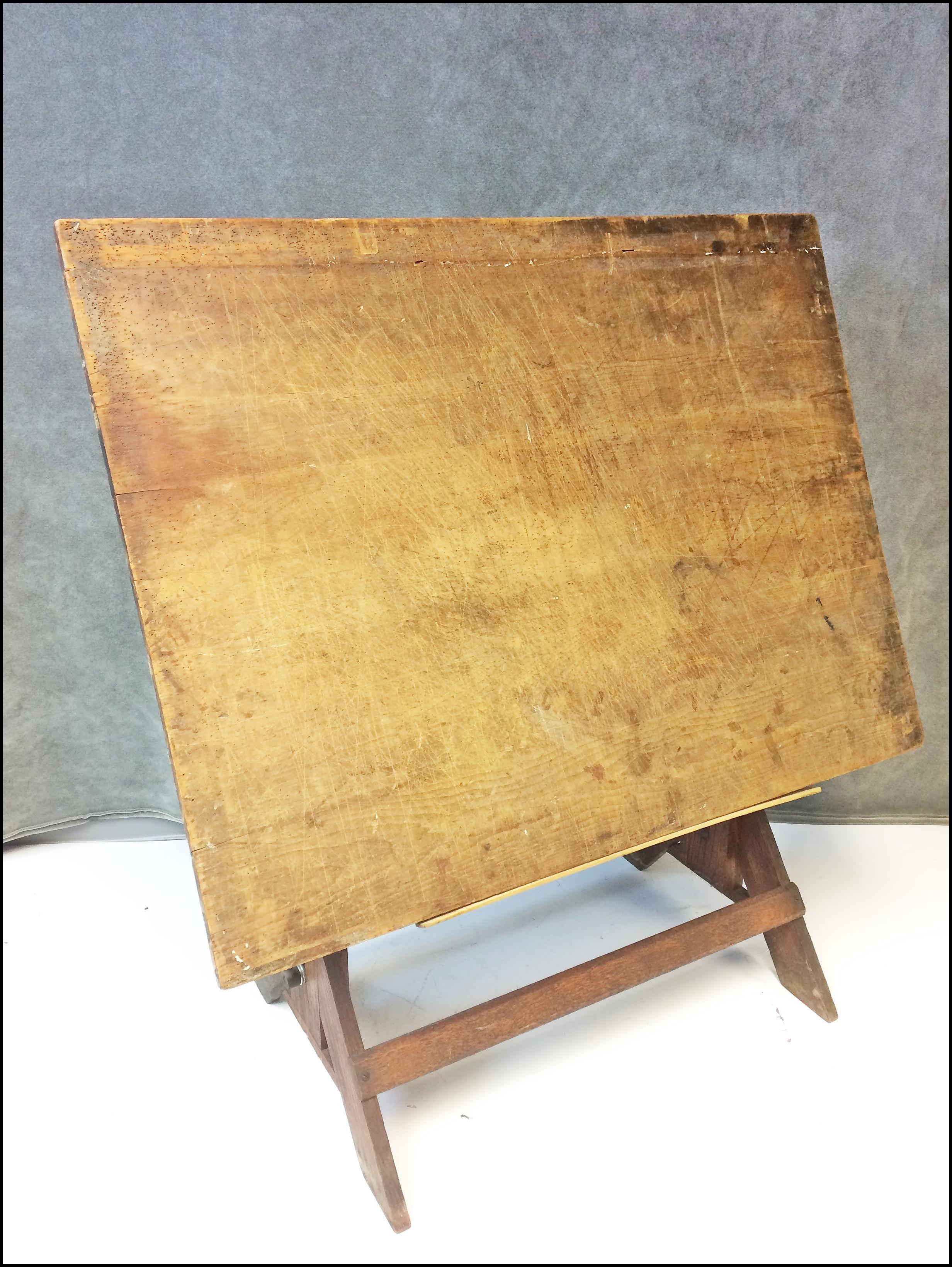 Vintage Industrial Tilting Wood Drafting Table   Image 2 Of 11