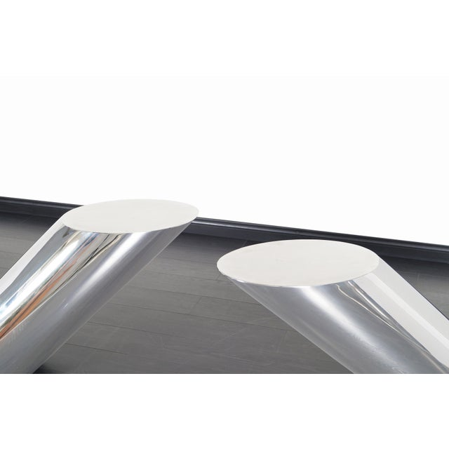 """1970s Brueton Polished Steel """"Zephyr"""" Table by J. Wade Beam - a Pair For Sale - Image 5 of 13"""