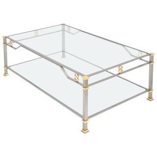 Vintage Steel and Gilt Brass Coffee Table For Sale