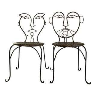 Vintage John Risley Continuous Line Figure Face Sculptural Iron and Wicker Chairs- a Pair For Sale
