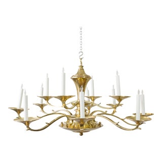 Large Brass Chandelier With 12 Arms For Sale
