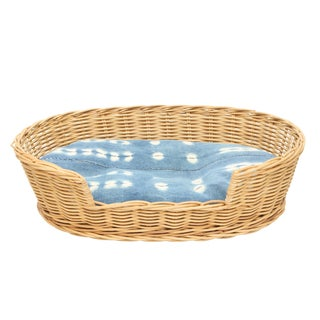 Vintage Wicker Small Basket Bed With Indigo Cushion