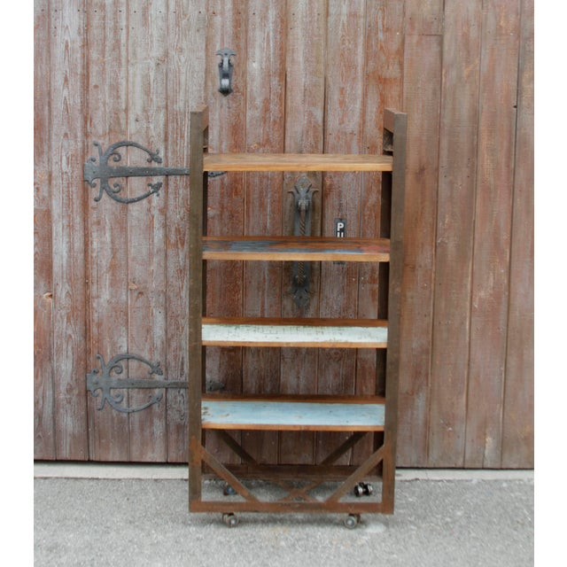 Supported By A Semi Oxidized Iron Frame On Steel Casters This Industrial Style