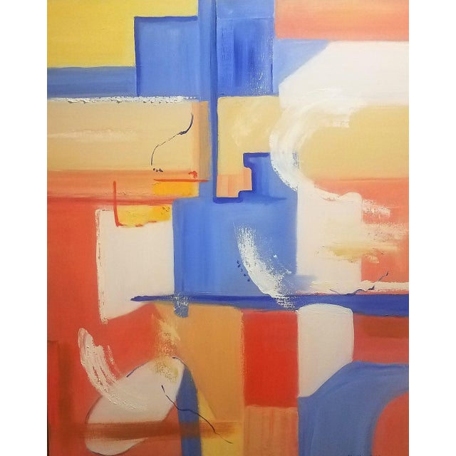City Wind is an modern, abstract oil on canvas painting by Christine Frisbee. The bright colors of orange, blue, yellow...