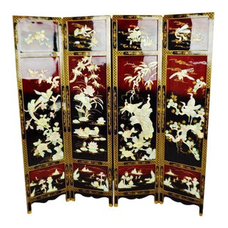 Vintage Chinese Lacquered Black and Red Folding Screen Room Divider