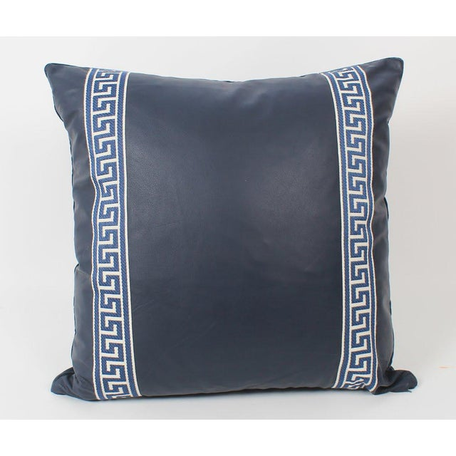 Hollywood Regency Navy Leather Greek Key Pillows, Pair For Sale - Image 3 of 7
