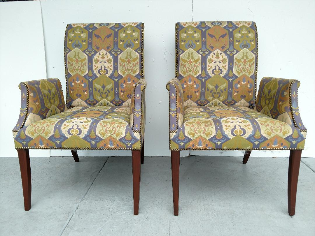 Tommi Parzinger Styled Vintage Armchairs, By Initials Furniture   A Pair  For Sale   Image
