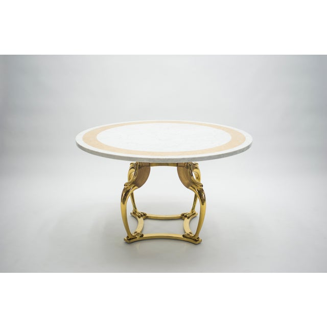 Rare Hollywood Regency Robert Thibier Brass Marble Dining Table, 1970s For Sale - Image 11 of 13