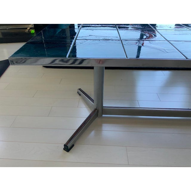 Mid-Century Modern 1960s Mid-Century Modern Chrome and Ceramic Tile Top Coffee Table For Sale - Image 3 of 5