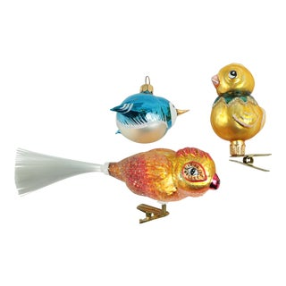 Whimsical Bird Blown Glass Christmas Ornaments - Set of 3 For Sale