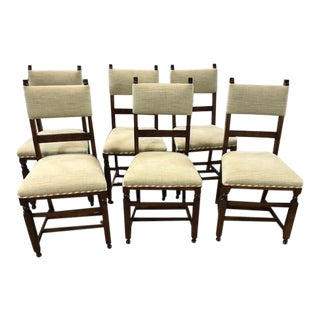 Antique English Oak Chairs With Designer Fabric- Set of 6 For Sale