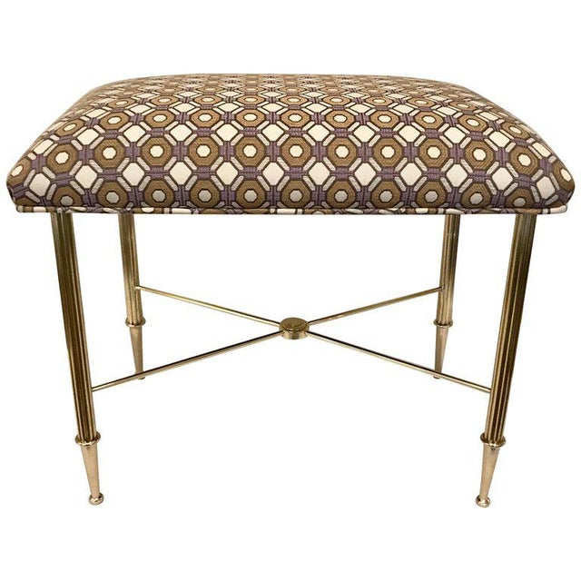 French Upholstered Brass With Reeded Legs Bench / Stool For Sale - Image 13 of 13